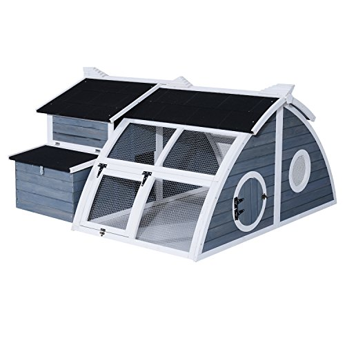 Pawhut Deluxe Backyard Chicken Coop Barn w/ Curved Outdoo...