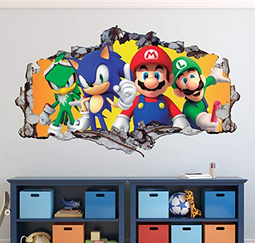 Mario Bros Friends Wall Decal Art Decor 3D Smashed Sonic The Hedgehog Sticker Mural Kids Gift Large HA04 (50