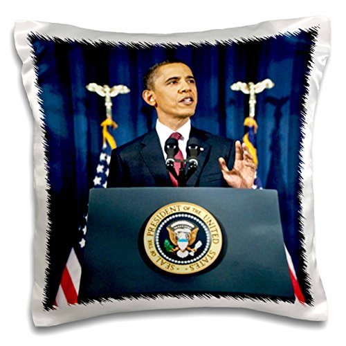 3dRose President Obama Gives National Speech - Pillow Case, 16 by 16-inch ()