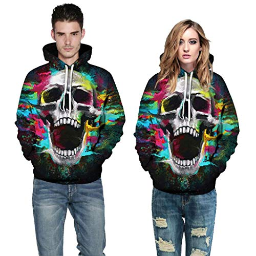 WUAI Clearance Halloween Costumes For Adults Mens Womens Hoodie Sweatshirt Skull 3D Printed Slim Pullover Jackets(Multicolor-A,Size L/XL) -