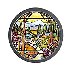 CafePress Tiffany Landscape Window Unique Decorative 10 Wall Clock