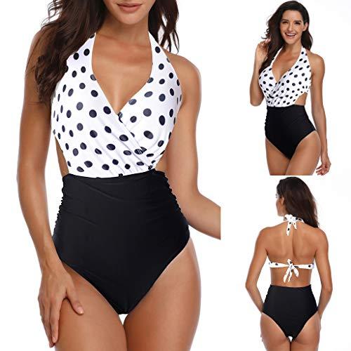 (Tootu Women One- Piece Lace Print Backless Bikini Padded Swimwear White)