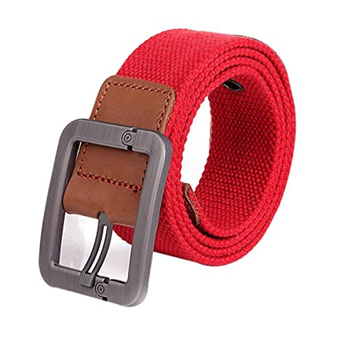 Mistere?Fashion?NEW New Design Especially Man Women Automatic Square Buckle Waist Strap Sports Knit Canvas Belts cintos para as mulheres Army Green115cm