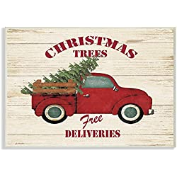 Stupell Industries Merry Christmas Vintage Tree Truck Wall Plaque Art, Proudly Made in USA