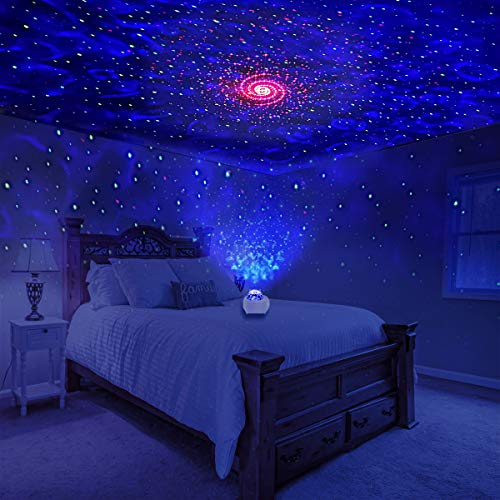 Galaxy Projector Lights KisMee New Version Starry Night Light Projector with Bluetooth Hi-Fi Speaker, Musical Nebula Star Light for Bedroom, Home Theatre, Room Décor, Kids Gift