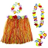 Lux Accessories Multicolor Halloween Tropical Hawaiian Lei Flower Floral Set 5PC
