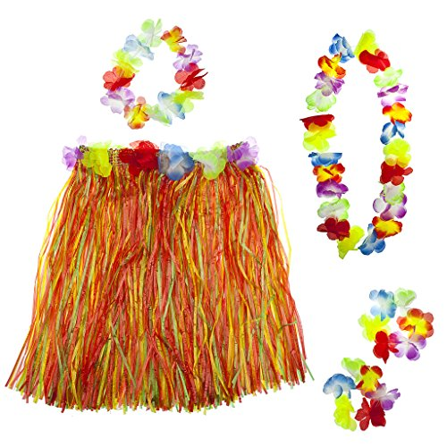 - Lux Accessories Multicolor Halloween Tropical Hawaiian Lei Flower Floral Set 5PC
