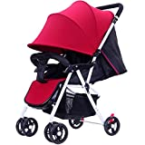 Baby Stroller High Landscape Suspension Can Sit Carriage ChairsBaby Umbrella Car Four Round Baby Stroller Durable Wheels Summer Trolley (Color : Red)