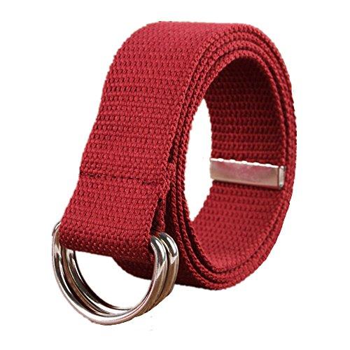 Sunsnow Canvas Web Belt Double D-Ring Buckle 1.5