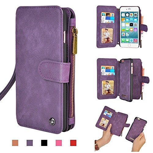 iPhone Wallet Case, Premium PU Leather Zipper Cellphone Purse Detachable Cover for iPhone