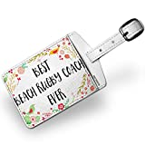 Luggage Tag Happy Floral Border Beach Rugby Coach - NEONBLOND