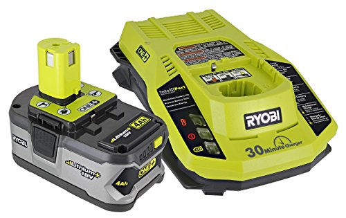 Ryobi P108 One+ 18V 4.0AH Lithium Ion Battery and P117 One+ Dual Chemistry Lithium Ion and NiCad Battery Charger (2 Piece Combo Set) -