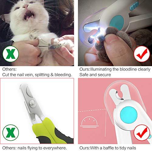 LED Dog & Cat Nail Clippers, with Safety Guard to Avoid Over-Cutting Nails, Free Nail File, Sturdy Non Slip Handles and Lock Switch, for Safe, Professional at Home Grooming