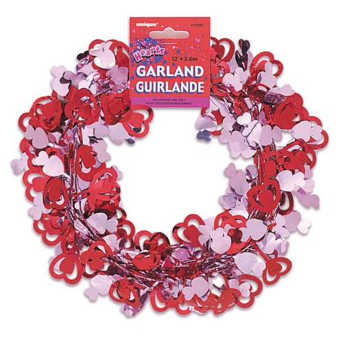 12ft Wire Valentine's Day Heart Garland (Tinsel Twine)