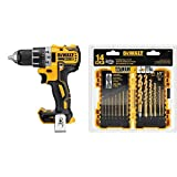 DEWALT DCD791B 20V MAX XR Li-Ion 0.5'' Brushless Compact Drill/Driver with DW1354 14-Piece Titanium Drill Bit Set