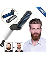 Beard Straightener Brush, Quick Beard Straightening Comb for Man, Electric Hair Straightening Comb Styling Comb Hair Straightener Heat Brush Magic Massage Comb Electric Hair Tool for Men