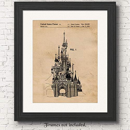Original Disney Sleeping Beauty Castle Vintage Patent Art Poster Print- Set of 1 (One 11x14) Unframed- Great Wall Art Decor Gifts Under $15 for Home, Office, Garage, Man Cave, Nursery, - Castle Beauty Sleeping