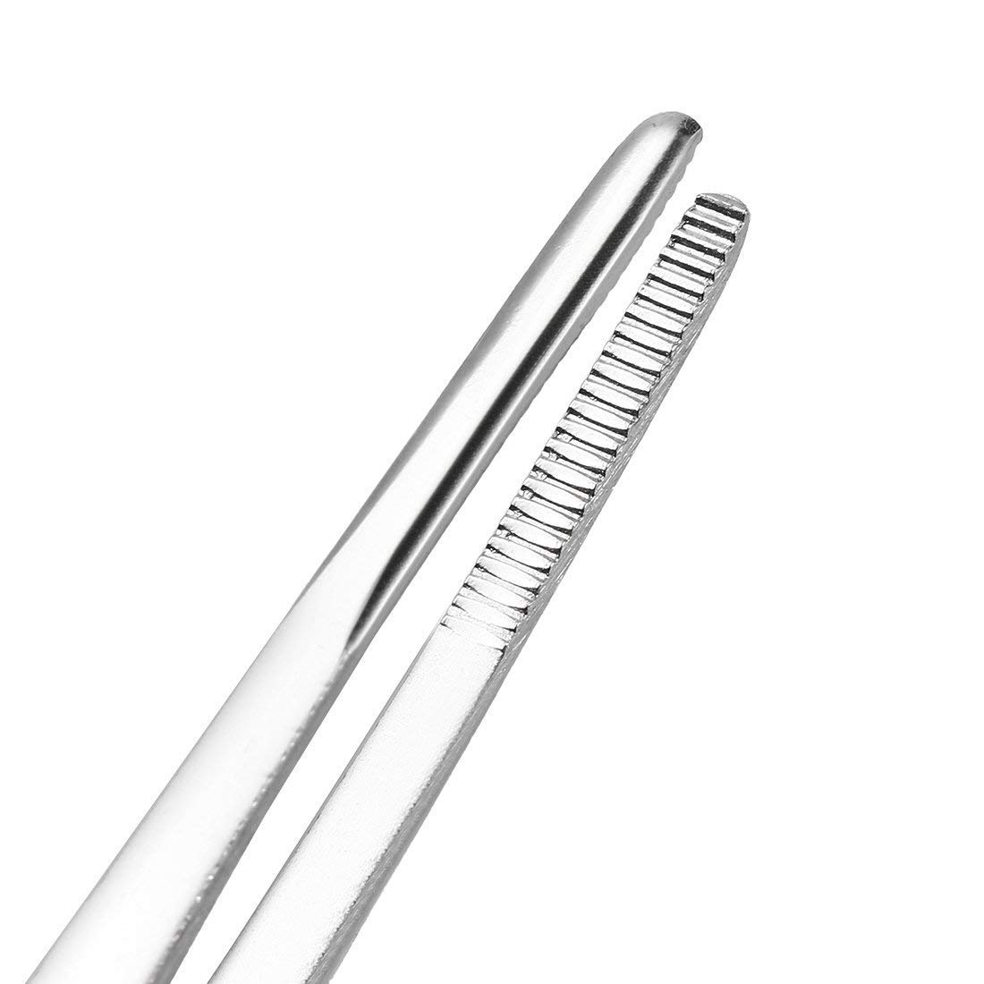 sourcingmap 2 Pcs 5-Inch Stainless Steel Tweezers with Curved Pointed Serrated Tip