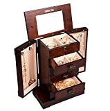 Jewelry Cabinet Armoire Organizer Storage Box Stand Mirror Chest Wood Durable Necklaces Rings Drawers