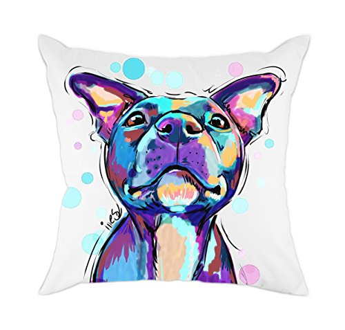 Redland Art Cute Pet Pit Bull Dogs Pattern Cotton Polyester Throw Pillow Covers Cushion Cover Pillowcases Home Decor 18