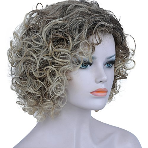 BESTUNG Short Kinky Curly Wig for Women Afro Fluffy Wavy Synthetic Wigs Ash Brown Mix Blonde Ombre Heat Resistant Hair Wig