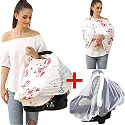Privacy Baby car seat Covers - Stroller Canopy Nursing and Breastfeeding Covers, Multi-use carseat Canopy, for Boys and Girls Shower Gift (Print flower-02)