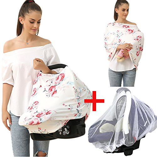 Privacy Baby Car Seat Covers - Stroller Canopy Nursing and Breastfeeding Covers, Multi-use Carseat Canopy, for Boys and Girls Shower Gift (Print Flower)