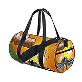 Gym Bag Africa Zebra Sunset Sports Travel Duffel Lightweight Canvas Bags