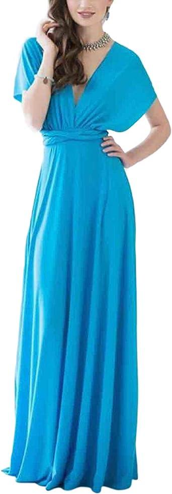 TALLA L(ES 44-46). FeelinGirl Mujer Vestido Maxi Convertible Espalda Decubierta Cóctel Multiposicion Tirantes Multi-Manera Largo Falda para Fiesta Ceremonia Sexy y Elegante Verdinegro L(ES 44-46)