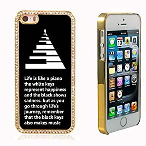 iPhone 5S Case, WKell Life is Like a Piano Design Luxury Hybrid Bling Glitter Sparkle With Crystal Rhinestone Case for iPhone 5/5S
