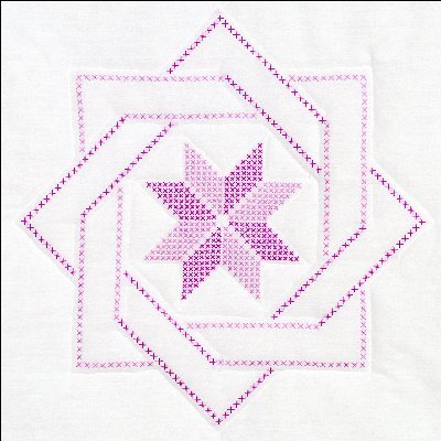 Jack Dempsey Stamped White Quilt Blocks 18 by 18Inch Woven Star 6Pack