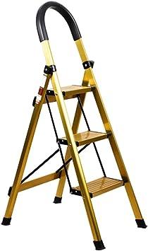 Escalera plegable taburete banqueta Escalera doméstica delgada con mango de goma, Escaleras antideslizantes plegables portátiles doradas de 3 escalones para adultos mayores, soporte 150 kg: Amazon.es: Bricolaje y herramientas