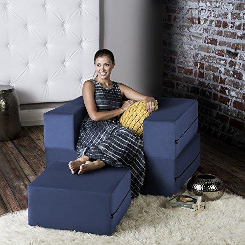 (Jaxx Zipline Convertible Sleeper Futon Chair & Ottoman with Machine-Washable Cover, Marine)