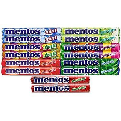 Mentos ,(2 Of Each Flavor) The Chewy Mint Sampler/Bundle - Mint, Cinnamon, Strawberry, Spearmint, Green Apple, Fruit and Rainbow - Includes (14) 1.32oz (Mentos Mint Candy)