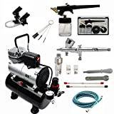 ABEST Complete Professional Airbrush Compressor kit Multi-Purpose Airbrushing System with 2 Airbrushes: 0.2MM\0.3MM\0.5MM Dual action Gravity Feed, Single-action 0.8mm siphon feed, and Cool Runner Professional Airbrush Compressor with tank