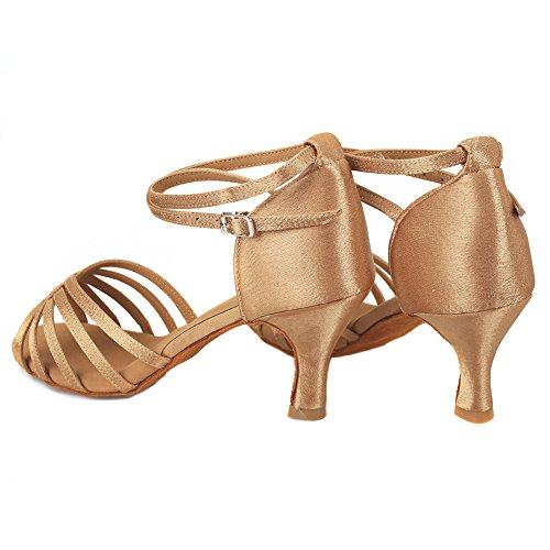 Mujer VASHCAME de Baile de Alto Tacón para Beige Zapatos tacón Latino 7cm Medio TxqTrw6z