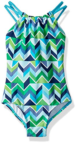 Kanu Surf Big Girls' Jasmine Beach Sport Halter One Piece Swimsuit, Ruby Navy/Green Chevron, - Flounce Knit