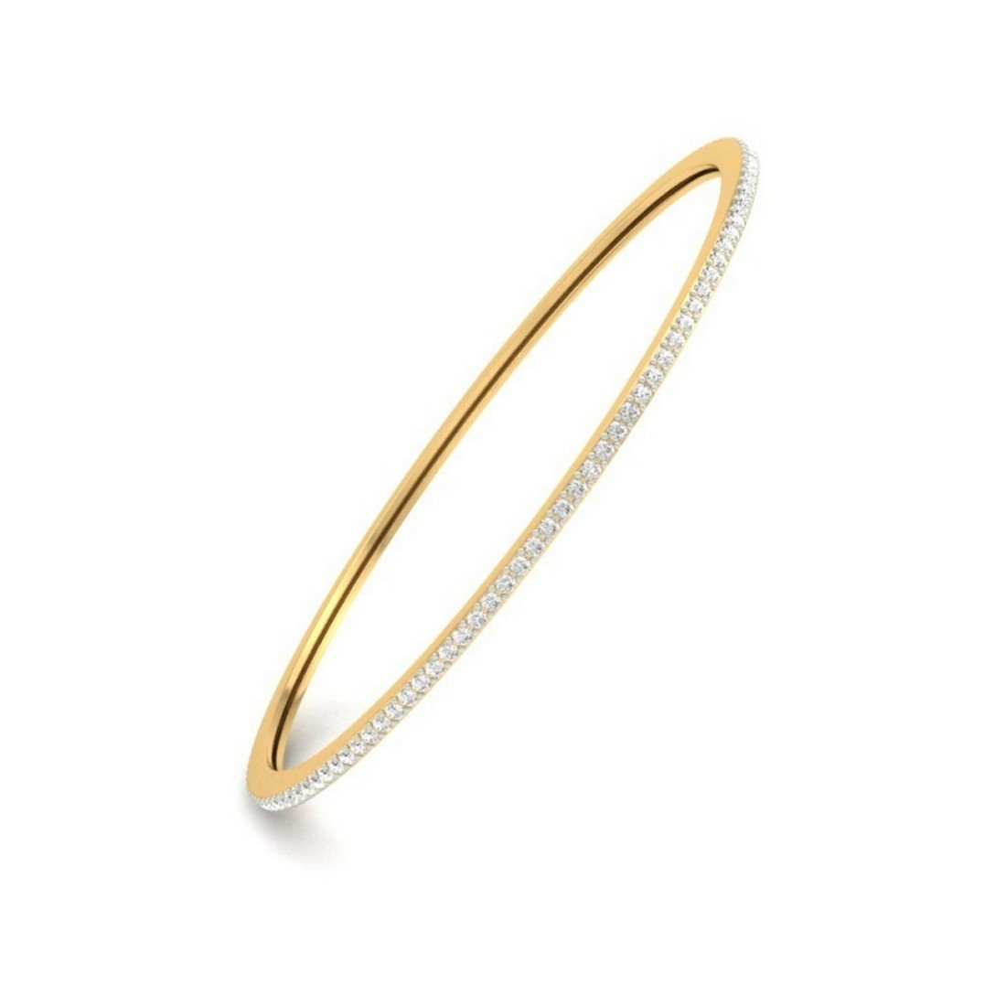 HallMarked bangle-bracelets Size 2.12 cttw Round-Cut-Diamond IJ  SI 7.25 inches 14K Yellow Gold