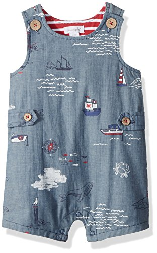 Mud Pie Baby Boys Nautical Sleevless Chambray One Piece Shortall Playwear, Blue, 9-12 Months ()