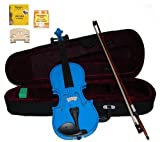 GRACE 1/2 Size Blue Acoustic Violin with Case and Bow+Rosin+2 Sets Strings+2 Bridges+Tuner