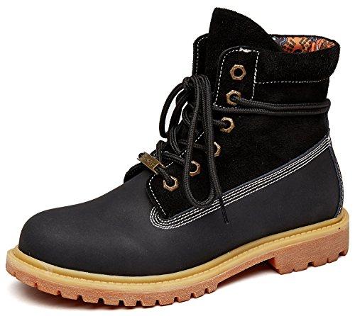 uBeauty Damen Desert Boots Leder Martin Stiefel Große Größe Leder flache Boots Neue populäre Frauen Stiefel Schwarz