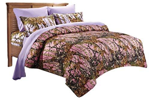 20 Lakes Woodland Hunter Camo Comforter, Sheet, Pillowcase Set (Twin, Pink & Purple) by 20 Lakes (Image #1)