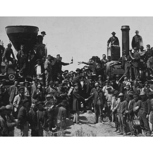 (Quality digital print of a vintage photograph - East Meets West - the 'Golden Spike' ceremony, Promentory Summit, Utah May 10, 1869. Black & White 5x7 inches - Luster Finish)