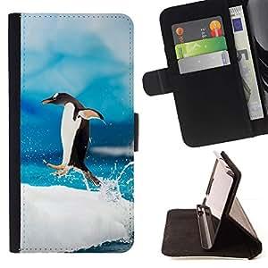 Momo Phone Case / Flip Funda de Cuero Case Cover - Pingüino feliz Jump;;;;;;;; - Apple Iphone 6 PLUS 5.5