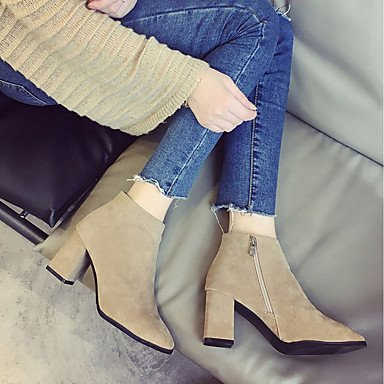 Casual Mid Women's US7 Suede Shoes Light Chunky Fall leather RTRY EU38 Boots Square Combat UK5 Nubuck For Heel Toe Calf Comfort Boots Boots CN38 5 5 Brown Zipper Bq6dwxWHA