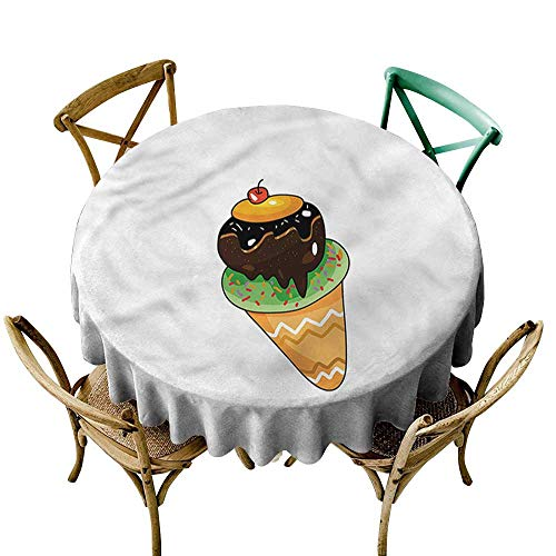 "familytaste Ice Cream,Washable Table Cloth Pistachio Sprinkle Cherry D 50"" Fitted Round Tablecloth"