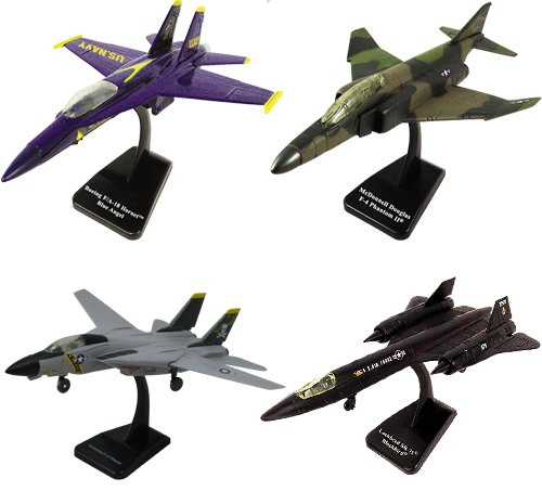 (InAir SMITHSONIAN E-Z Build 4pc Set - F-14 Tomcat¨ Jolly Roger, F4 Phantom, F-18 Hornet Blue Angels and SR-71 Blackbird - 1:72 Scale)