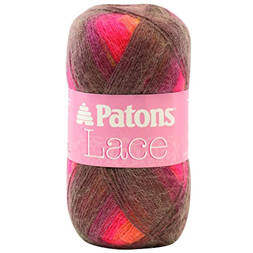 Patons Lace Yarn - (2) Fine Gauge  - 2.5 oz -  Bonfire -   For Crochet, Knitting & Crafting