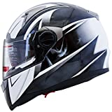 Mega Z Black White Dual Visor Street Bike Full Face Motorcycle Helmet DOT (Large)