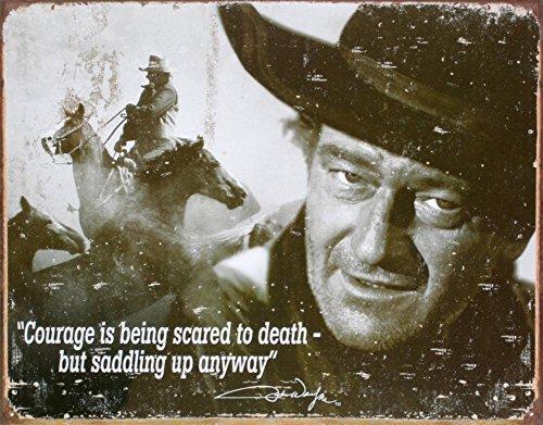Unoopler Poster Desperate Enterprises John Wayne Courage Collectible Metal Sign, Model# 1429, 8X12in